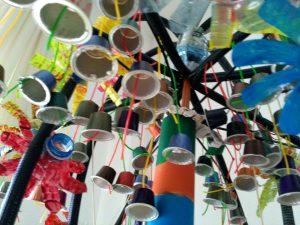 Obra realizada con material reciclado en EVD Galicia