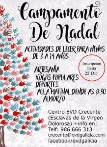 Cartel del Campamento de Navidad 2017 en Crecente organizado por EVD Galicia