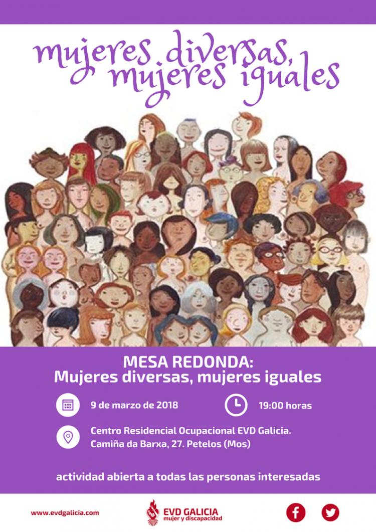 Cartel Mesa Redonda Mujeres Diversas, Mujeres Iguales en EVD Galicia