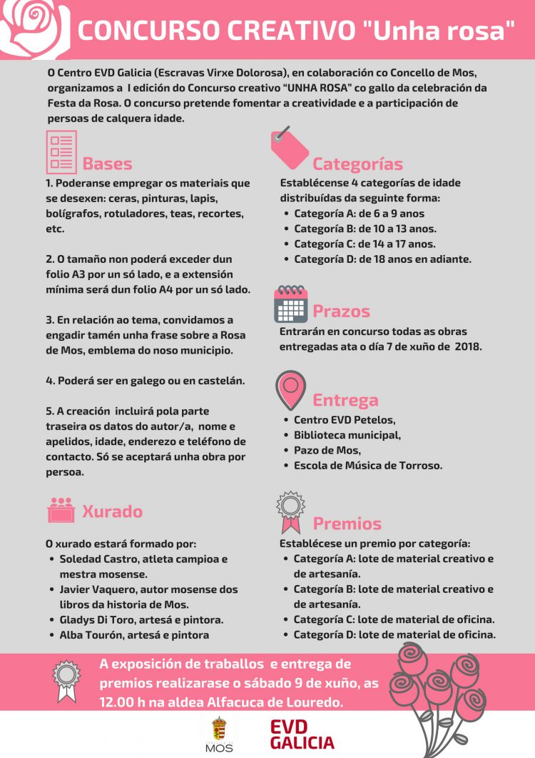 Bases del concurso creativo Una Rosa organizado por EVD Galicia Esclavas Virgen Dolorosa y el Concello de Mos