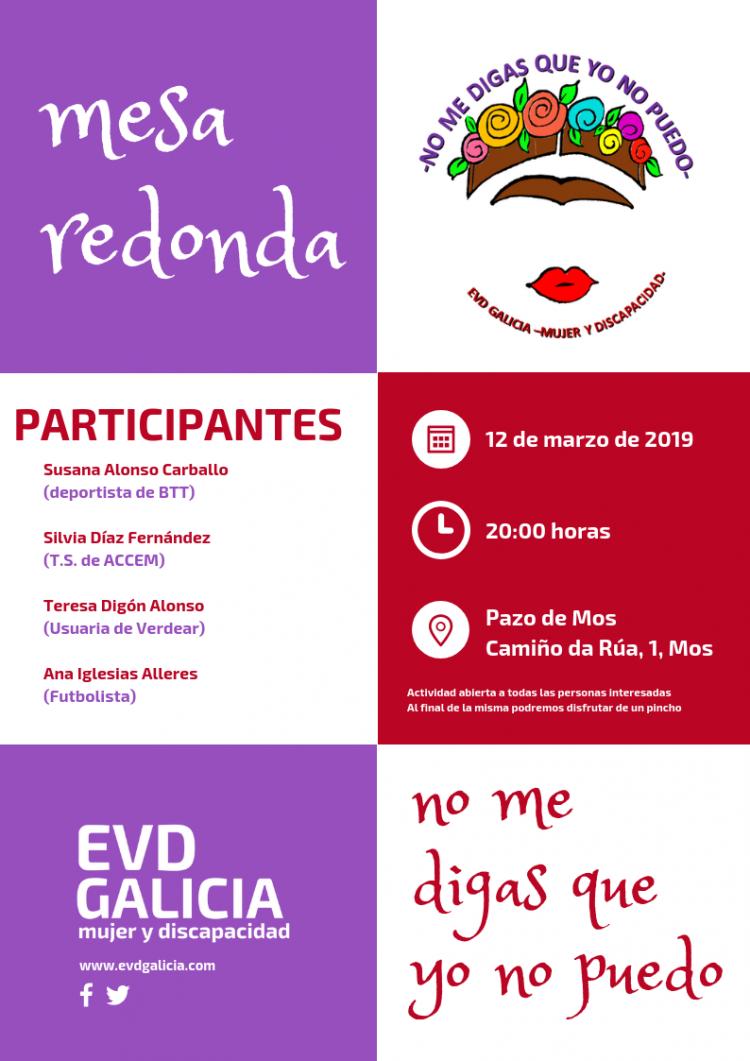 Cartel de la mesa redonda organizada por EVD Galicia por el Día de la Mujer 2019
