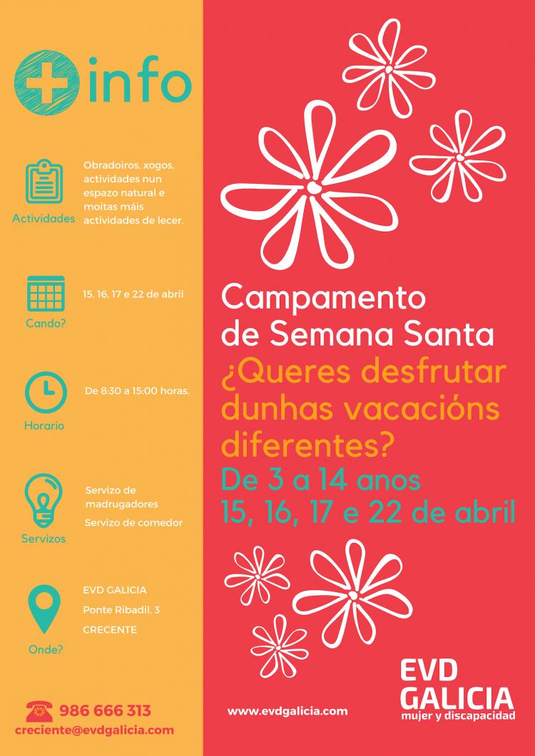 Cartel del campamento de semana santa de EVD Galicia en Crecente