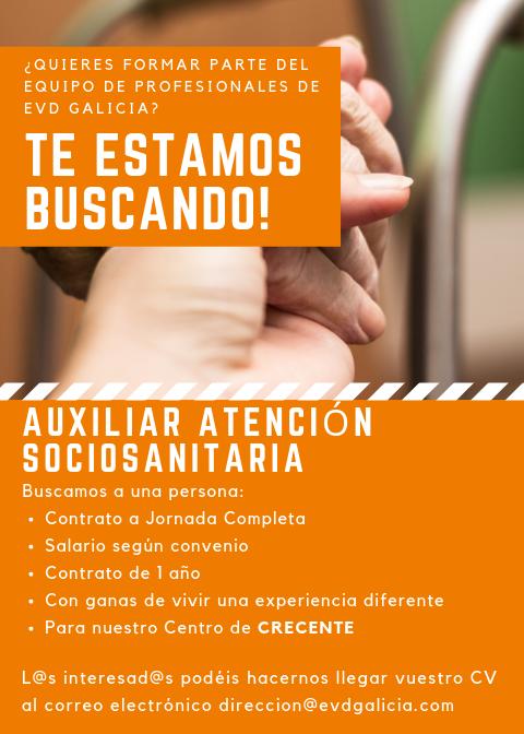 Oferta de empleo en EVD Galicia de Auxiliar de Atención Sociosanitaria en nuestro centro de Crecente