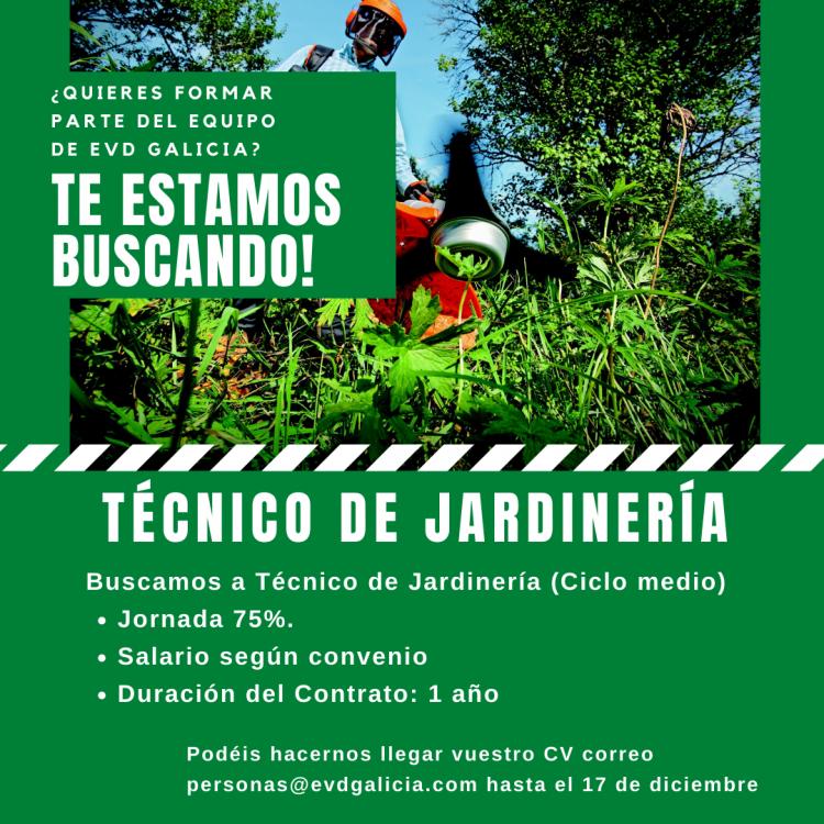 Oferta de empleo Técnico de Jardinería EVD GALICIA