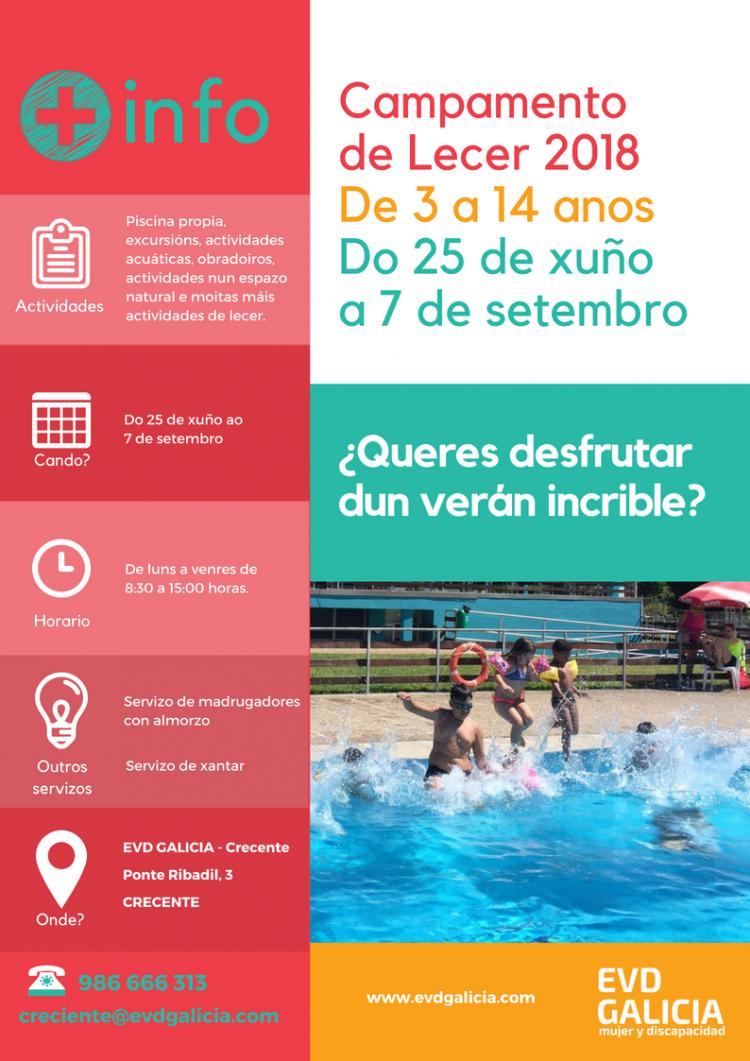 Cartel del Campamento de Lecer verano 2018 organizado por EVD Galicia