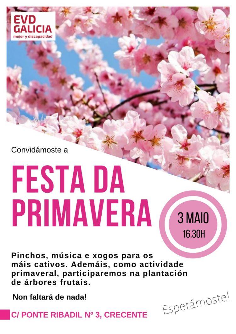 Cartel Fiesta de la Primavera en EVD Galicia Crecente