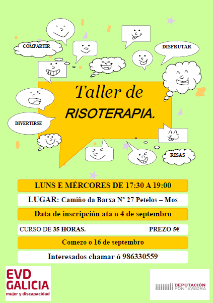Cartel del Taller de risoterapia organizado por EVD Galicia en Mos