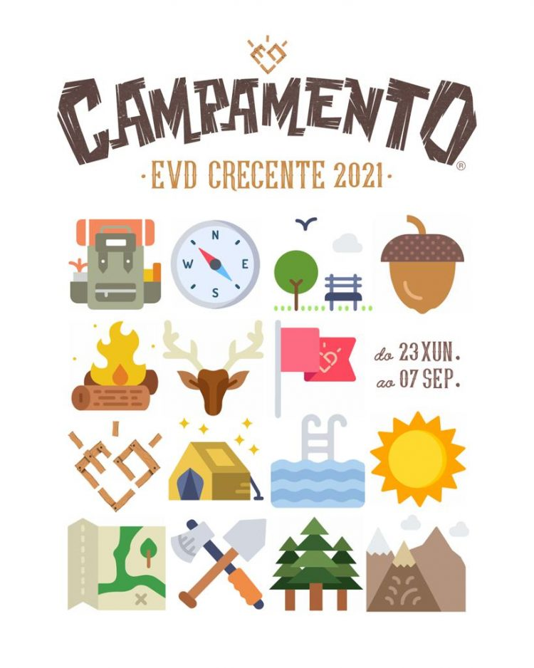 Cartel Campamento de verano 2021 en Crecente, organizado por EVD Galicia